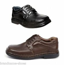 MENS HUSH PUPPIES LEDGER EXTRA WIDE MEN'S BLACK BROWN LEATHER WORK LACE UP SHOES