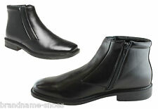 MENS HUSH PUPPIES HARRY EXTRA WIDE MEN'S BLACK LEATHER WORK BOOTS WITH ZIP