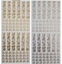 BIRTHDAY NUMBERS Peel off Stickers 18th, 21st, 25th, 30th, 40th, Gold or Silver