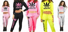 Ladies Girls Cropped Addicted Active Lounge Hoodie Joggers Set Tracksuit XS-L
