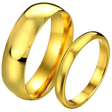 Men Women Gold Tone Stainless Steel Couples Ring for Valentine's Day Gifts