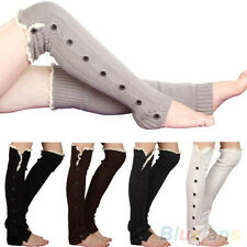 Fashion Crochet Knitted Stocking Leg Warmers Button Lace Trim Legging Boot Sock