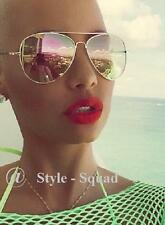 Trendy Mirror Lens Fashion Large Gold Metal Aviator Hip Sunglasses 3683 Shades