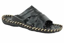 Mens Faux Leather Black Open Toe Slip on Sandals Summer Beach Holiday Mules UK