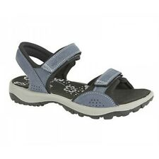IMAC Womens Ladies Velcro Nubuck Cushioned Comfort Open Toe Sports Sandals Navy
