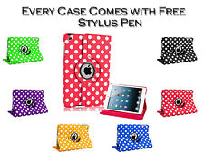 360° Rotating Polka Dot Smart Stand Leather Pu Case Cover For Apple iPad 5 Air