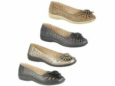 Boulevard Womens Ladies Comfy Floral Brooch Cut Out Pattern Pumps Ballet Flats
