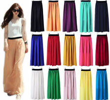Colouoful Women Double Layer Chiffon Pleated Long Maxi Dress Elastic Waist Skirt