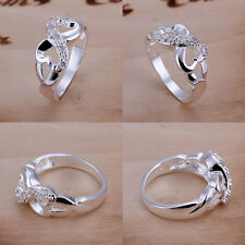 Hot Fashion Womens  925 Sterling Silver Plated Crystal Band Solid Ring US Size