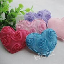 4/20pcs Big Padded Felt Love Heart Appliques Wedding Decor Sewing Crafts