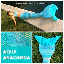 "Swimmable Mermaid Tail ""Ruffle Fluke Series"" Aqua Anaconda  W/ Monofin"