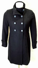 Womens Double Breasted Military Style Black Winter Wool Coat UK Sizes 8 - 26