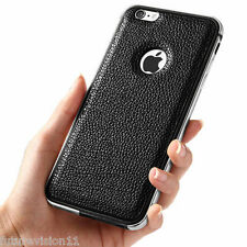 Luxury Leather/Clear Back Cover + Aluminum Metal Bumper Case For Apple iPhone