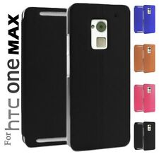 Suction Cup Closur Folio Leather Case Flip Cover Stand For HTC One Max T6