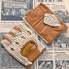 Vintage Style Ivory & Tan Leather Crochet Cycling Gloves Track Mitts L'Eroica