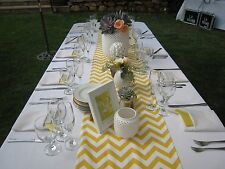 Chevron Yellow and white zig zag Table Runner Wedding Bridal Baby Party Shower