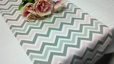 Chevron Pink Grey White zig zag Table Runner Wedding Bridal Baby Shower