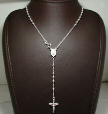 "3mm Rosary Chain Necklace Cross Crucifix Real Solid Sterling Silver 16""- 24"""