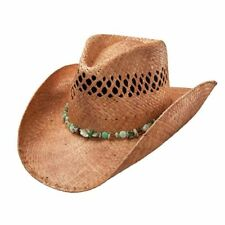 CHARLIE1HORSE LAGOON VENTED RAFFIA STRAW COWGIRL HAT W/ GREEN PEARL BEADS