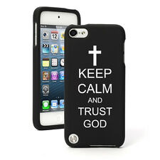 For Apple iPod Touch 4th 5th 6th Rubber Hard Case Keep Calm Trust God Cross