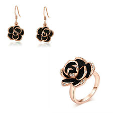 3pcs18k Rose Gold Plated Swarovski Crystal Black Rose Necklace Earrings Ring Set