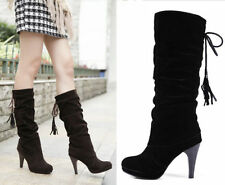 New womens elegant mid calf boots pull on heels platform slouch pump Shoes Size