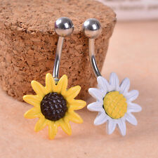 Women Belly Ring Sunflower Surgical Steel Belly Button Ring Navel Piercing Body