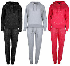 New Ladies Full Tracksuit Sweatshirt Top Hoody Sequin Bottom Women Jogger Set