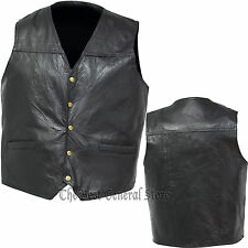Mens Black Leather Concealed Carry Weapon Gun Vest with Holster 5-Snap Closure
