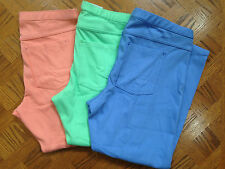 (NWT) HUE Blue/Green/Apricot Original Jean Capri Stretch Leggings Sizes S/M/L