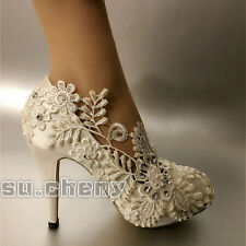 White pearl silk lace Wedding shoes Bridal flats low heel heels pumps size 5-10
