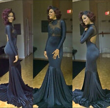 Sexy Long Sleeve Mermaid Backless Evening Gowns Navy Blue Prom Dresses To Party