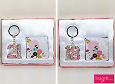 Happy 18th / 21st Birthday Gift Set Birthday Keyring & Compact Mirror 18/21M2