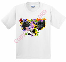 Kids Pug T shirt Childrens Tee Shirt, Pugs & Pansies, White Ages 3 -13 Dog Tee