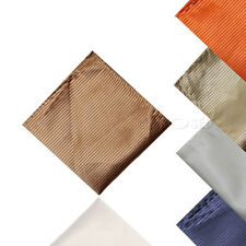 Mens Shiny Plain Stripe Wedding Party Pocket Square Hanky Handkerchief