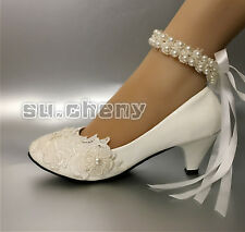 White lace rose pearls Wedding shoes Bridal flats low high heel heels size 6-10