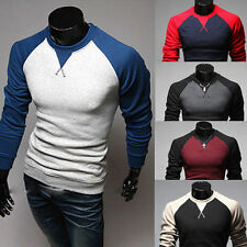 New Fashion Mens Clothes Casual Tee Shirt Slim Fit Crew-Neck Long Sleeve T-shirt