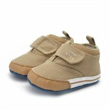 Blue/Khaki Kids Baby Boy Shoes Soft Sole Cotton Ankle Canvas Crib Shoes Sneaker