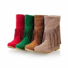 New Women/Girls Ankle Tassels Boots Faux Suede Fringe Moccasin PullOn Boot Shoes