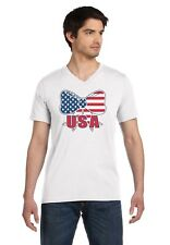 USA Flag Bow Tie - National Pride 4th of July V-Neck T-Shirt Independence Day
