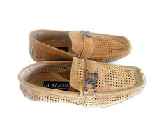 LA Milano Men*Tan LEATHER SUEDE-Slip-On-Perforated A1214 Shoes Moccasin Loafer-