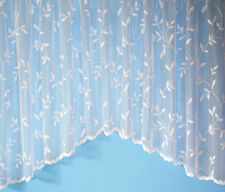 WHITE FLORAL LEAVES DESIGN JARDINERE NET CURTAIN PANEL WITH SCALLOP BOTTOM- AMY