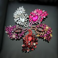 Flower Pendant Brooch Broach Pin With Colors Rhinestone Crystal For Women Ae027