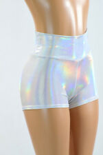 Flashbulb Holographic Silvery White High Waist Spandex Shorts Rave Festival