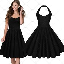 Womens Halter Rockabilly Cocktail Vintage Party Black Dress V Neck Skaters 8-16
