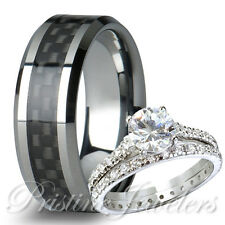 His & Her 925 Sterling Silver Women Wedding Ring Mens Black Carbon Tungsten Band
