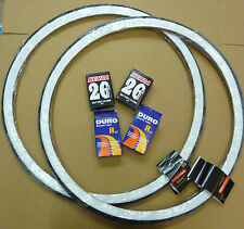 Pair 26 x 1 3/8 White wall Raleigh Record Tyres & free Innertubes 37-590 Bicycle