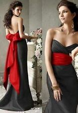 Black and red Evening Formal Party Ball Gown Prom Wedding Bridesmaid Dress 6-16