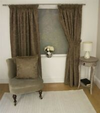 JACQUARD FLORAL DAMASK BROWN LINED PENCIL PLEAT CURTAINS 10 SIZES