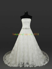 New Lace White / Ivory Wedding Dress Gown Bride Dress Stock Size 6 8 10 12 14 16